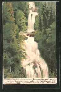 Lithographie Killinger Nr. 123: Die Giessbachnixe ihre Waldfreude verlassend, Berg mit Gesicht / Berggesichter