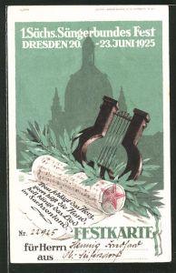 AK Dresden, 1. Sächsisches Sängerbundes Fest 1925, Festkarte mit Noten und Harfe