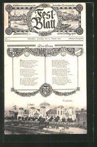 AK Düsseldorf, Festblatt 55. Generalversammlung der Katholiken Deutschlands 1908 mit Festhalle