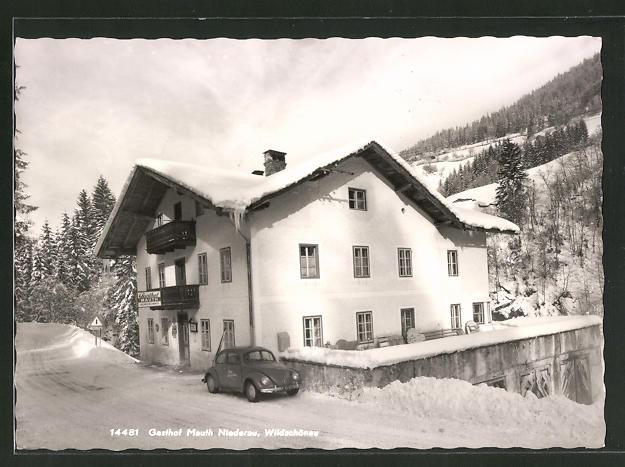 AK Wildschönau, Gasthof Mauth Niederau, Motiv mit VW Käfer von Foto Rhomberg