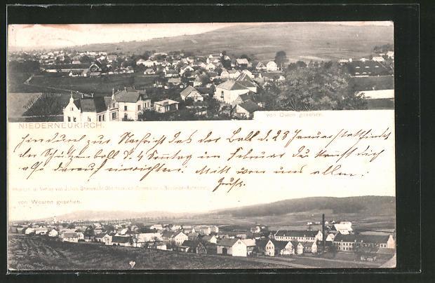 AK Niederneukirch, Gesamtansicht von Osten und von Westen