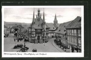 AK Wernigerode / Harz, Marktplatz mit Rathaus
