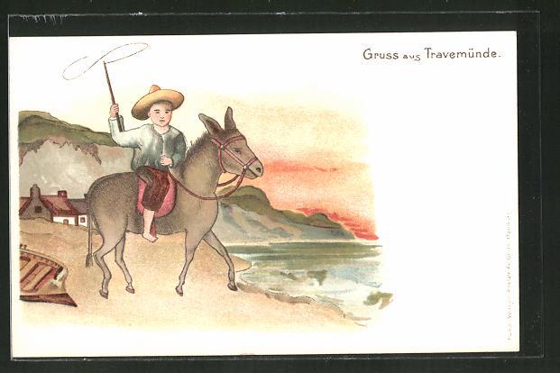 Lithographie Travemünde, kleiner Junge mit Cowboyhut und Lasso auf einem Pferd