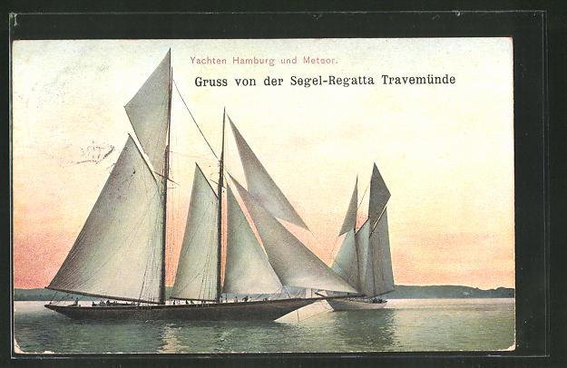 AK Travemünde, Segel-Regatta, Yachten Hamburg und Meteor