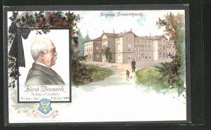 Lithographie Bildnis Fürst Otto von Bismarck mit Trauerschleife, Blick auf Schloss Friedrichsruh