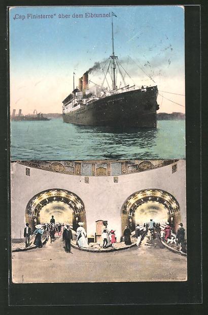 AK Hamburg-St. Pauli, Elbtunnel, Passagierschiff Cap Finisterre über dem Elbtunnel