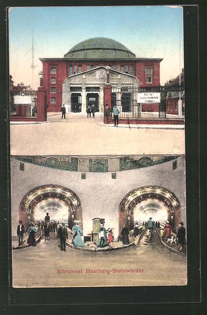AK Hamburg-St. Pauli, Elbtunnel, Eingangsbereich, Bürger spazieren durch den Tunnel
