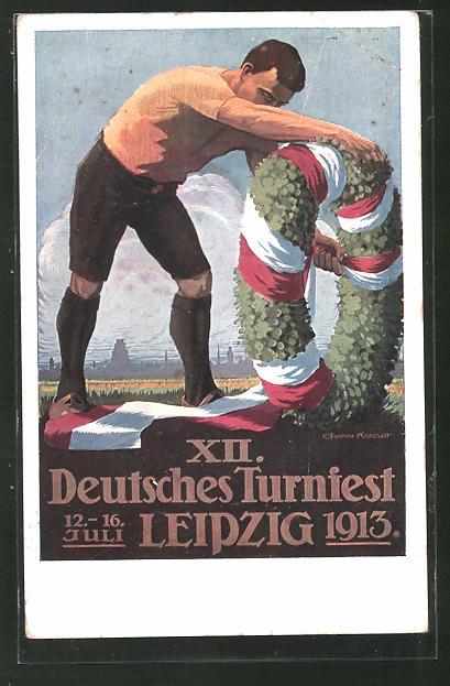 AK Leipzig, XII. Deutsches Turnfest 1913, Ringer bindet den Siegeskranz