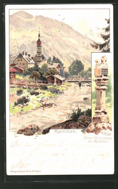 Künstler-Lithographie Otto Strützel: Ramsau, Alter Bildstock