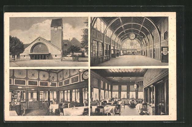 AK Travemünde, Strandbahnhof, Bahnhofs-Restaurant von W. Dietz, Aussenansicht vom Bahnhof