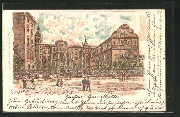 Goldfenster-AK Dessau, Das Schloss mit leuchtenden Fenstern