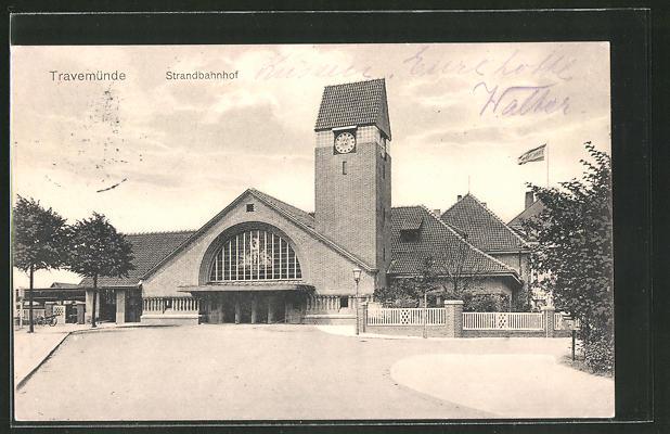 AK Travemünde, Blick zum Strandbahnhof