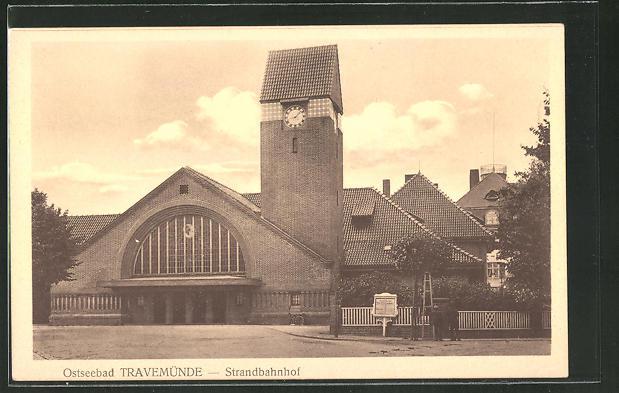 AK Travemünde, Eingang zum Strandbahnhof