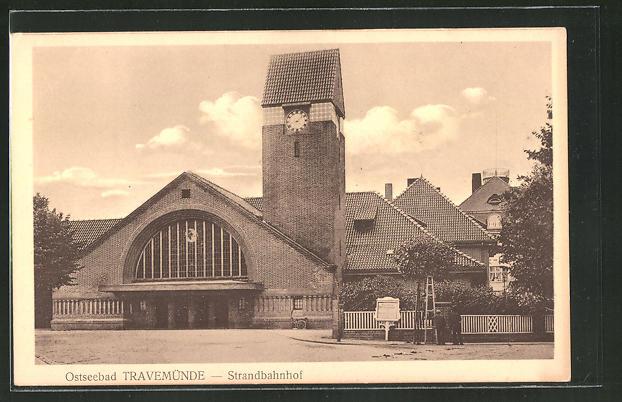 AK Travemünde, Blick auf den Strandbahnhof