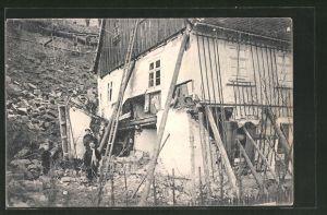 AK Rathen, zerstörtes Haus durch Erdrutsch, Unwetter