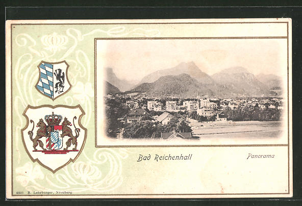 Passepartout-Lithographie Bad Reichenhall, Panorama mit Wappen