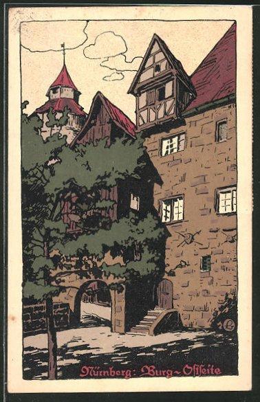 Steindruck-AK Nürnberg, Blick auf die Ostseite der Burg