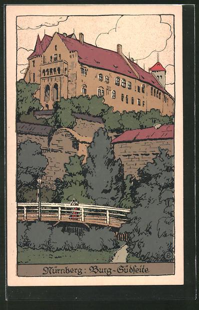 Steindruck-AK Nürnberg, Blick auf die Burg von der Südseite