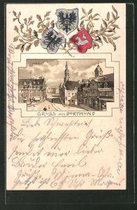 Passepartout-Lithographie Dortmund, Markt aus der Vogelschau