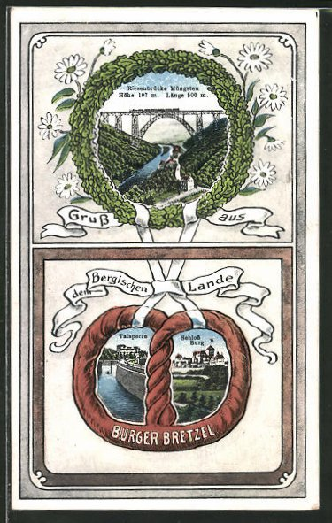 Passepartout-Lithographie Solingen, Burger Bretzel, Talsperre, Schloss Burg, Riesenbrücke Müngsten