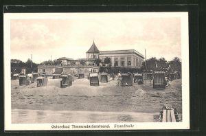 AK Timmendorferstrand, Strandleben mit Gasthaus Strandhalle