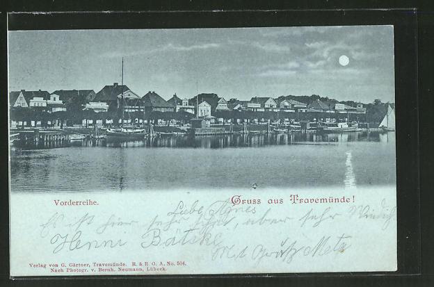 Mondschein-AK Travemünde, Häuser in der Vorderreihe vom Wasser aus gesehen
