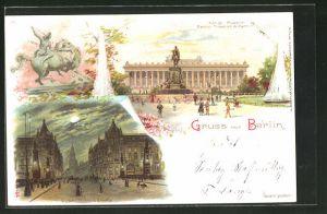 Lithographie Berlin, Kaiser Wilhelm-Brücke mit Kaiser Wilhelm-Strasse, Kgl. Museum