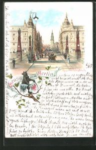 Lithographie Berlin, Kaiser Wilhelm Strasse und Blick auf die Kaiser Wilhelm Brücke
