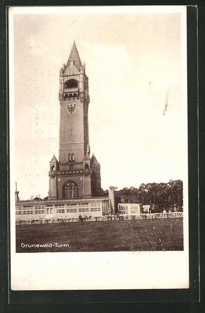 AK Berlin-Grunewald, Partie am Grunewald-Turm mit Gaststätte