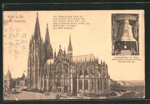 AK Köln, Südseite vom Dom, Kaiserglocke