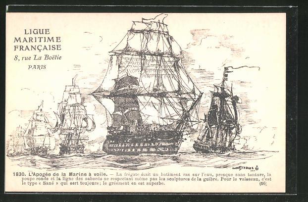 Künstler-AK Paris, Ligue Maritime Francaise, 8 Rue La Boetie, L'Apogée de la Marine à voile, Segelschiff