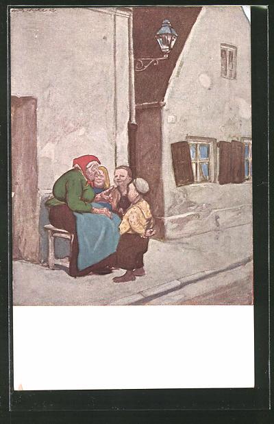 Künstler-AK G. Hirth's Verlag, Serie XXIX, 4: Die Märchenerzählerin mit Kindern