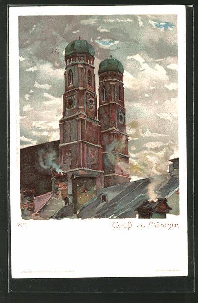 Künstler-AK Heinrich Kley: München, Blick zur Frauenkirche