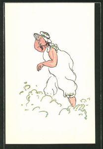 Künstler-AK Füllige Dame mit Hut und Badeanzug in der Wellengischt