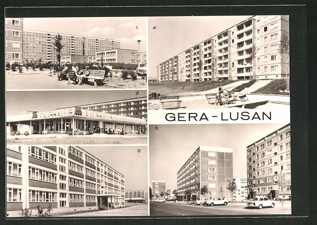 AK Gera-Lusan, Neubau-Siedlung, Strasse der Bauarbeiter, Kaufhalle Süd, Birkenstrasse u. Zeulsdorfer Strasse