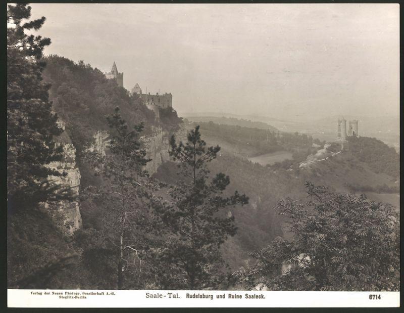 Fotografie NPG Berlin-Steglitz, Nr. 6714, Ansicht Saaleck, Rudelsburg & Ruine Saaleck im Saale-Tal