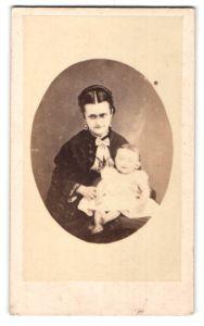 Fotografie A. Blondelu, unbekannter Ort, Portrait Mutter mit Kleinkind