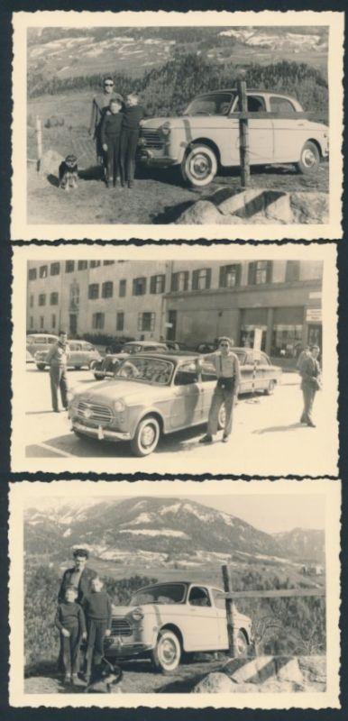 3 Fotografien Auto Fiat, Vater & Söhne mit PKW und Hund vor Alpenpanorama