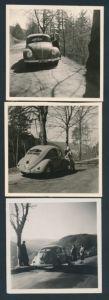 3 Fotografien Auto VW Käfer Brezel, Volkswagen PKW auf einer Passstrasse