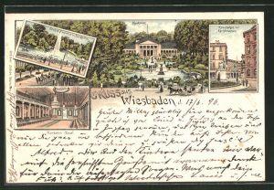 Lithographie Wiesbaden, Kurhaus, Saal, Grosse Fontaine, Kranzplatz mit Kochbrunnen