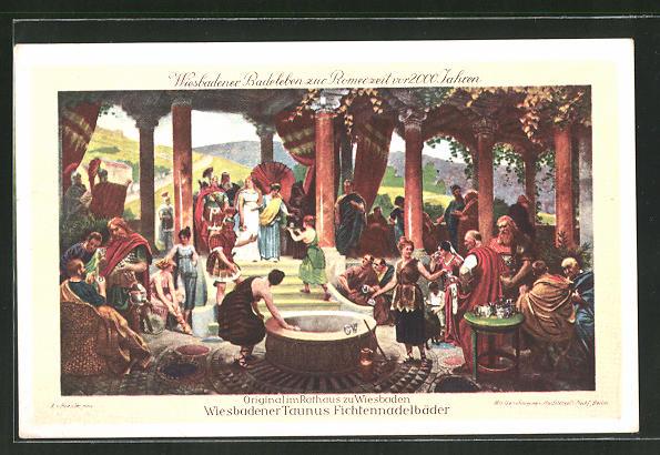 AK Wiesbaden, Wiesbadener Badeleben zur Römerzeit
