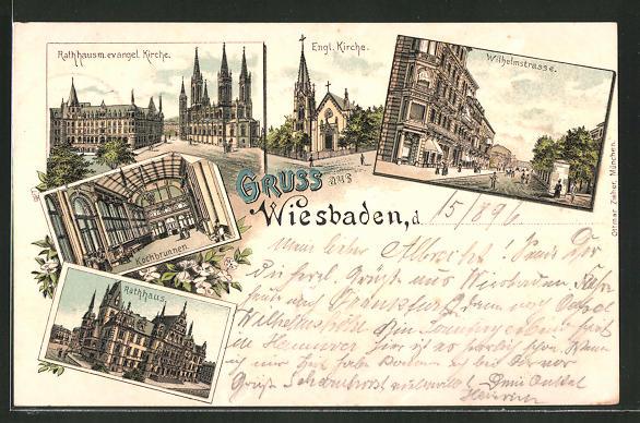 Lithographie Wiesbaden, Wilhelmstrasse, Engl. Kirche, Rathaus mit Evang. Kirche, Kochbrunnen