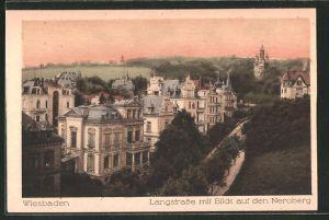 AK Wiesbaden, Langstrasse mit Blick auf den Neroberg