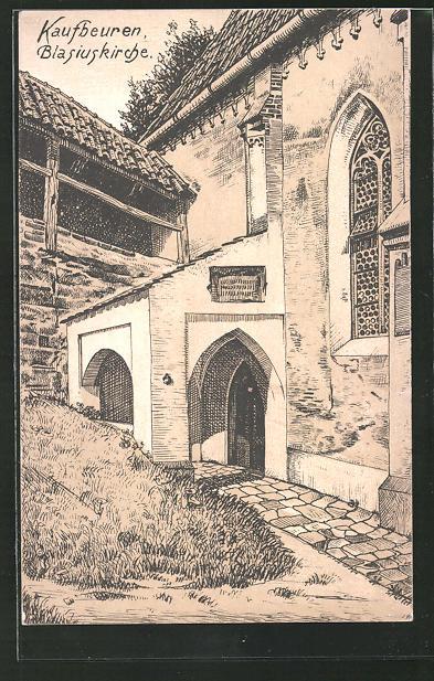 AK Kaufbeuren, Auf dem Hof der Blasiuskirche