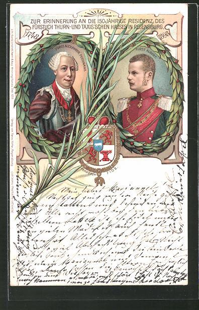 Lithographie Fürst Alexander Ferdinand und Fürst Albert von Thurn & Taxis