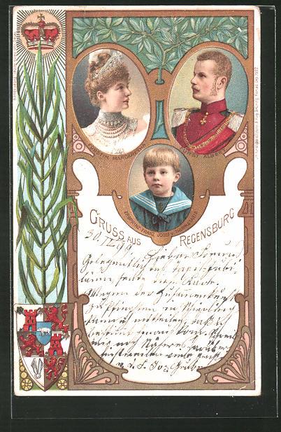 Lithographie Fürst Albert und Erbprinz Franz Josef von Thurn & Taxis