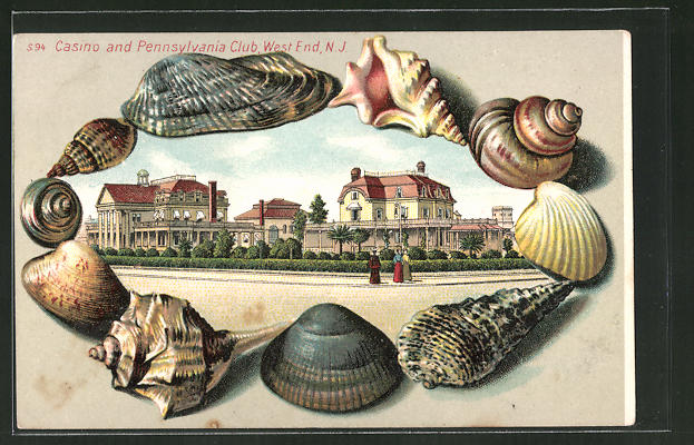Passepartout-Lithographie West End, NJ, Casino and Pennsylvania Club, Ansicht mit Muscheln gerahmt
