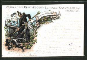 Künstler-AK Anton Hoffmann - München: München, Verband der Prinz-Regent-Luitpold-Kanoniere A.V.