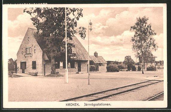 AK Krokek, Järnvägsstationen, Bahnhof