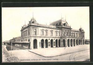AK Montevideo, Estacion del Ferro Carril Central, Bahnhof